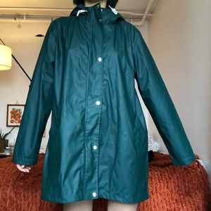 Forest green raincoat